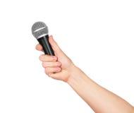 ręki mienia samiec mikrofon Zdjęcia Stock
