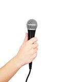 ręki mienia samiec mikrofon Obraz Stock