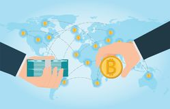 Ręki mienia smartphone z bitcoin i dolarami ilustracji