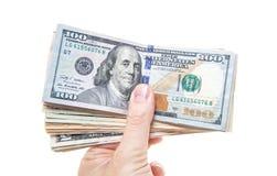 Ręki mienia stos dolarowe notatki Fotografia Royalty Free