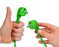 Ręki mienia zieleni elektryczna prymka Zdjęcia Stock