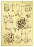 Ręki piwa rysunkowy set Obrazy Stock