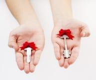 Ręki trzyma klucze Zdjęcia Stock