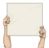 Ręki trzyma puste miejsce znaka Zdjęcie Stock