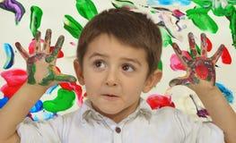 Ręki w farbie Zdjęcie Stock