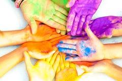 Ręki w farbie Obrazy Royalty Free