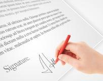 Ręki writing osobisty podpis na papierowej formie Obraz Stock