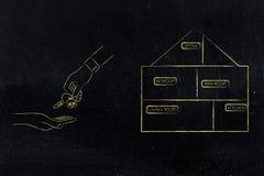 Ręki wymienia klucze obok pustej domowej ikony Zdjęcia Royalty Free