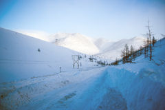 The R504 Kolyma Highway. (Russian royalty free stock images