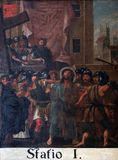 1r Las estaciones de la cruz, Jesús se condenan a la muerte Foto de archivo