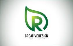 R Leaf Logo Letter Design with Green Leaf Outline Stock Photography