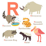 R letter animals set. English alphabet. Vector illustration Royalty Free Stock Photo