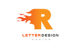 R Letter Flame Logo Design. Fire Logo Lettering Concept. R Letter Flame Logo Design. Fire Logo Lettering Concept Vector Royalty Free Stock Image
