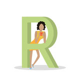 R Letter and Girl Plays on Smartphone. ABC Vector. R letter and girl standing and playing on tablet, chatting or reading isolated. Social network. Alphabet with stock illustration