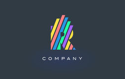 R Letter Logo with Colorful Lines Design Vector. Rainbow Letter. R Letter Logo Design with Colorful Rainbow Lines Vector. Rainbow Letter Icon Illustration Royalty Free Stock Photography