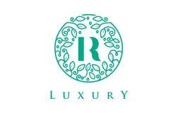 R Letter Logo Luxury.Beauty Cosmetics Logo. R Letter Logo Luxury. Green Beauty Cosmetics Logo Monogram Stock Photo