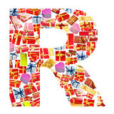 R Letter   made of giftboxes Stock Photos