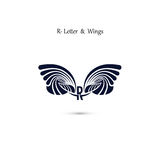 R-letter sign and angel wings.Monogram wing vector logo template Royalty Free Stock Images