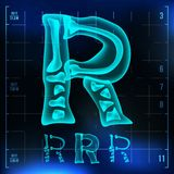 R Letter Vector. Capital Digit. Roentgen X-ray Font Light Sign. Medical Radiology Neon Scan Effect. Alphabet. 3D Blue. Light Digit With Bone. Medical, Pirate vector illustration