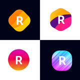 R letter vector company icon signs flat symbols logo set Royalty Free Stock Photo