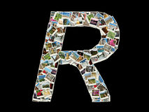 R llitera -旅行照片拼贴画  免版税库存照片