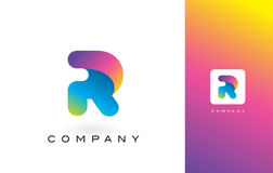 R Logo Letter With Rainbow Vibrant Mooie Kleuren R Kleurrijk T Royalty-vrije Stock Foto's