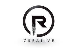 R muśnięcie listu loga projekta Kreatywnie Oczyszczony list ikony logo royalty ilustracja