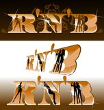 R'n'B Titles, Girls Silhouette. Music Titles, Girls Silhouette. Vector Illustration. No Meshes Stock Image