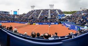 r Nadal- D, Ferrer, jugadores en la Barcelona se abre, un torneo de tenis anual para el jugador profesional masculino imagenes de archivo