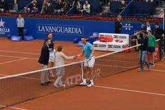 r Nadal- D, Ferrer, spelers in Barcelona opent, een jaarlijkse tennistoernooien voor mannelijke professionele speler royalty-vrije stock foto's