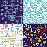 R-nahtloses Muster mit Sozialmediaikonen Lizenzfreie Stockfotos