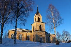 Råneå church in winter sun Stock Images