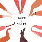 R??ny jest pi?kny Różnorodna grupa, ludzie nóg ilustracji