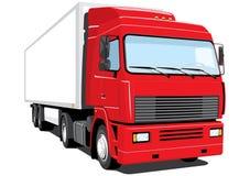 röd halv lastbil Royaltyfri Bild