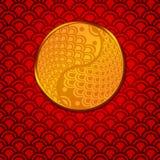 röd yang för kinesiska cirkelfiskpar yin stock illustrationer