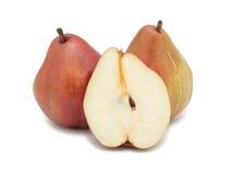 röda isolerade pears Arkivfoto
