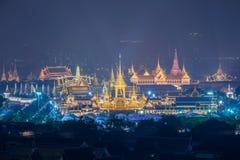 A r?plica real do cremat?rio para o rei Bhumibol Adulyadej Pra pode Ru Maat em Sanam Luang para a cerim?nia f?nebre real da crema fotografia de stock royalty free