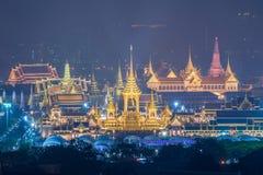 A r?plica real do cremat?rio para o rei Bhumibol Adulyadej Pra pode Ru Maat em Sanam Luang para a cerim?nia f?nebre real da crema foto de stock royalty free