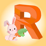 R Rabbit Alphabet icon great for any use. Vector EPS10. Royalty Free Stock Images