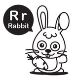 R Rabbit cartoon and alphabet for children to learning and color Royalty Free Stock Photo