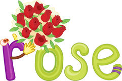 R for rose. Illustration of r for rose Royalty Free Stock Photos