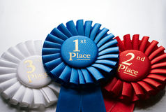 1r rosetón o insignia de los ganadores del lugar Fotografía de archivo