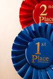 1r rosetón o insignia de los ganadores del lugar Imagen de archivo
