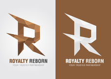 R Royalty reborn. Icon symbol from an alphabet R. Creative marketing Royalty Free Stock Images