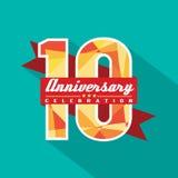 10 år årsdagberömdesign Arkivfoto