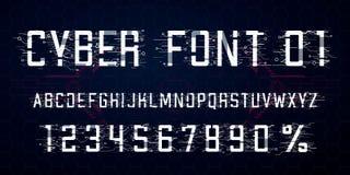 r Símbolo das letras, dos números e dos por cento para o Cyber segunda-feira, estilo da Olá!-tecnologia ilustração do vetor