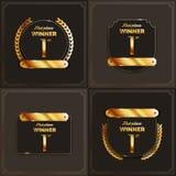 1r ` s del logotipo del lugar con los laureles y las cintas Foto de archivo