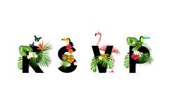 r S V Tarjeta tropical de P Fotografía de archivo