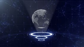 R?seau informatique La terre de entourage de plan?te sur trois cercles de bouclage Attribution de centre 3d Fin vers le haut Copi illustration libre de droits