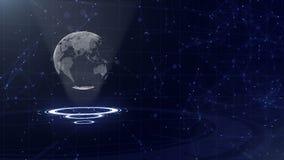 R?seau informatique La terre de entourage de plan?te sur trois cercles de bouclage Attribution gauche 3d Fin vers le haut Copiez  illustration stock